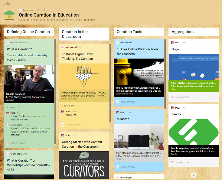 Figure 1: Sample of a curated site using Padlet