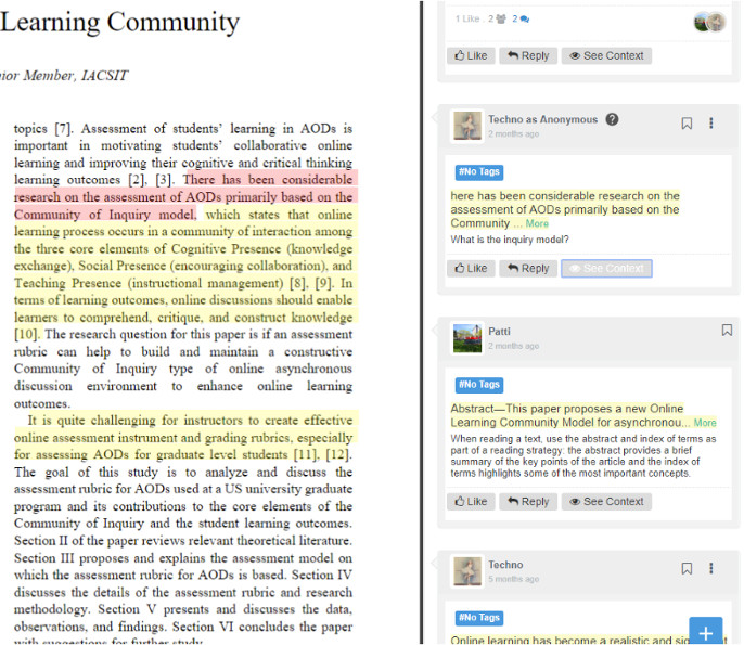Figure 2: Screen capture from Annotations on a Text in Classroom Salon