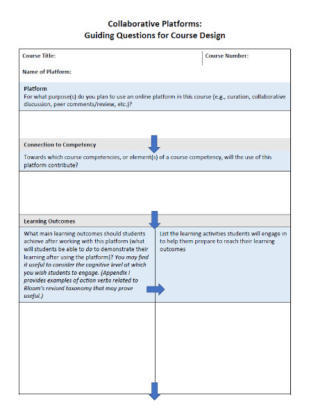 Figure 5: Page 1 of 2 of the backward design tool designed to support teachers