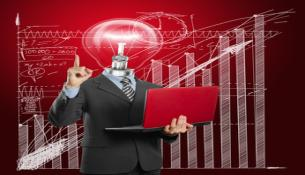 Image : lamp head businessman with laptop © leedsn